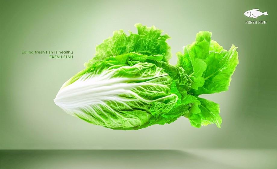 ps-蔬菜鱼创意合成