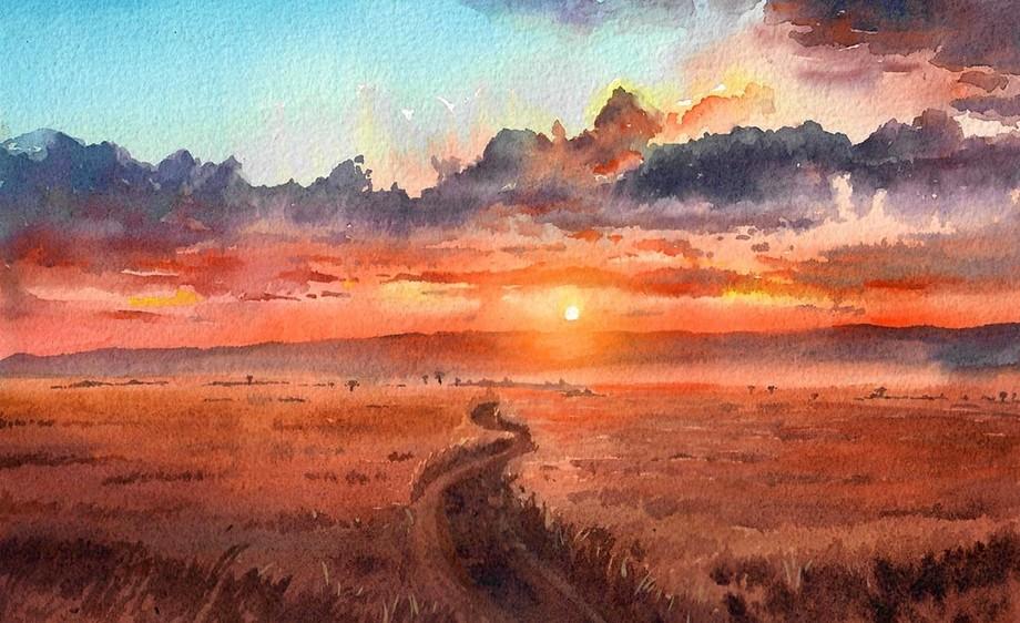 手绘水彩-风景-日落草原
