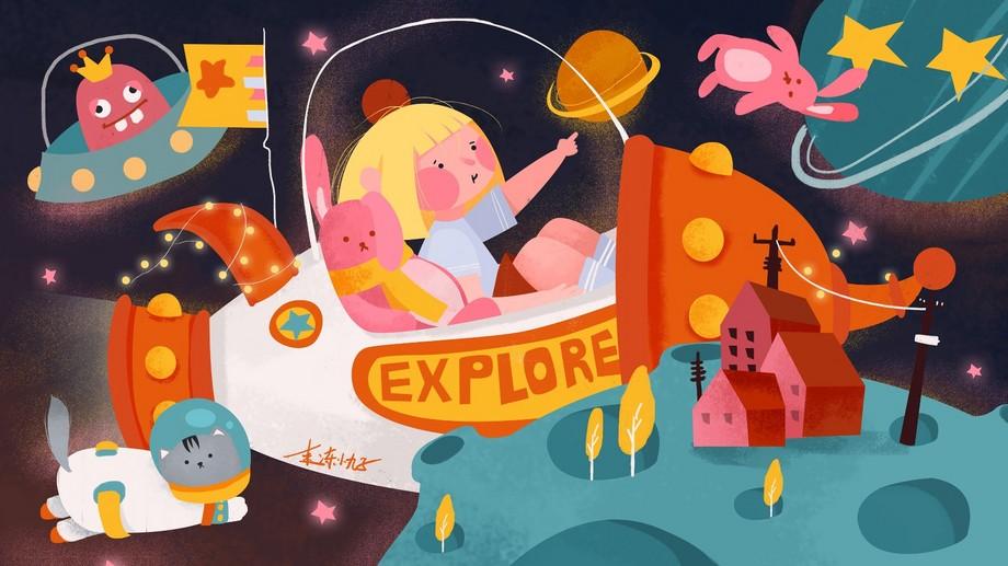 ps-板绘插画-太空探险创意插画图片