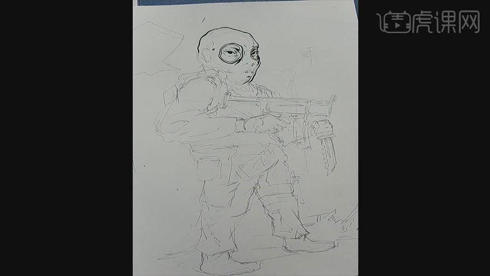 马克笔手绘课程-恐怖分子(前期起稿勾线)