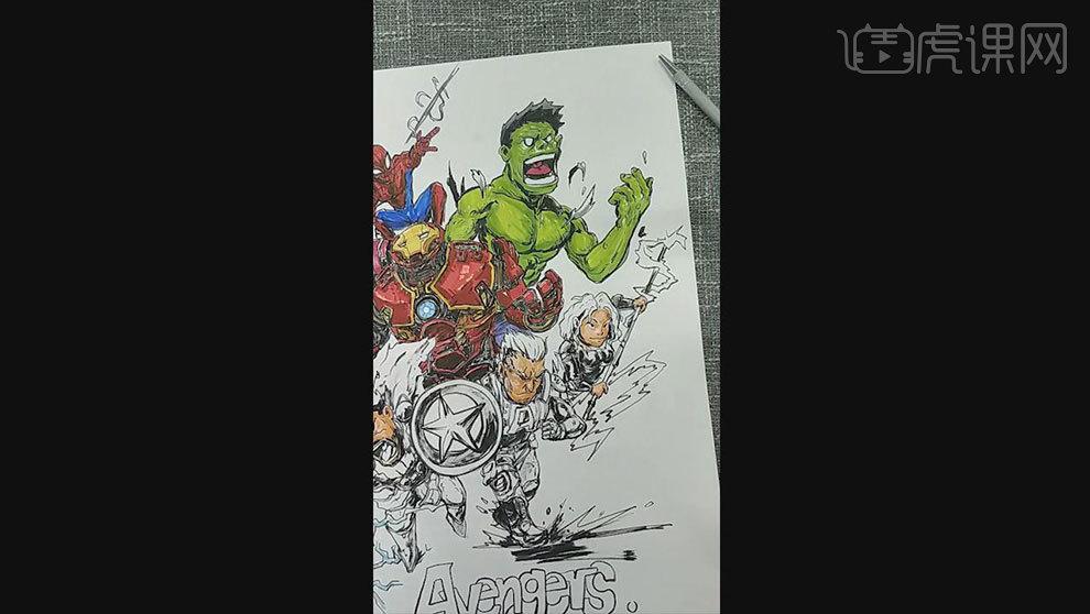 马克笔插画海报教程-复仇者联盟(上色后期)