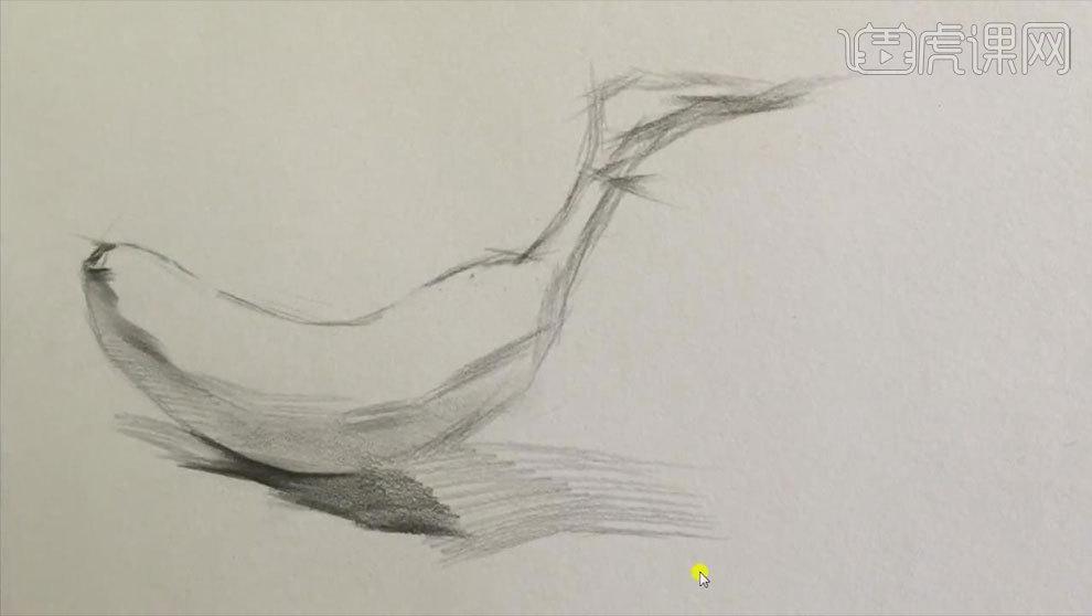 铅笔素描-静物香蕉的结构及明暗