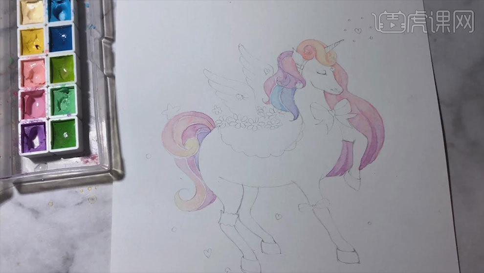 水彩手绘-梦幻独角兽插画