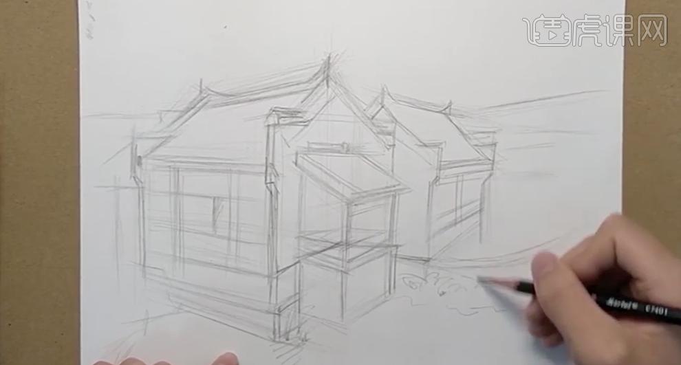 针管笔速写-江南水乡风景