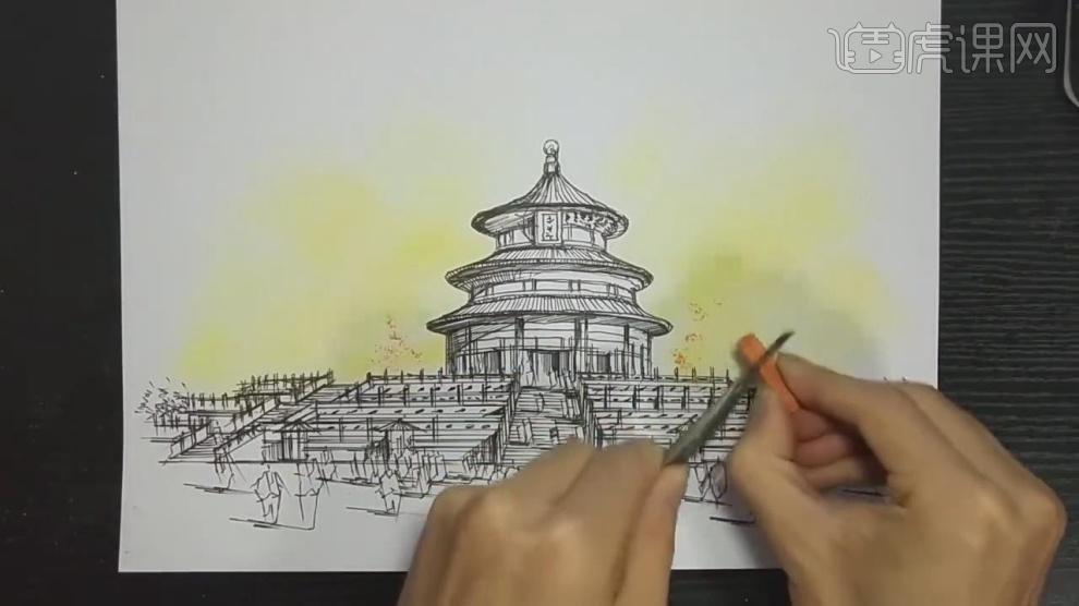 马克笔手绘-天坛建筑室外场景绘制(上色篇)