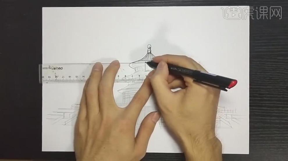 马克笔手绘-天坛建筑室外场景绘制(线稿篇)