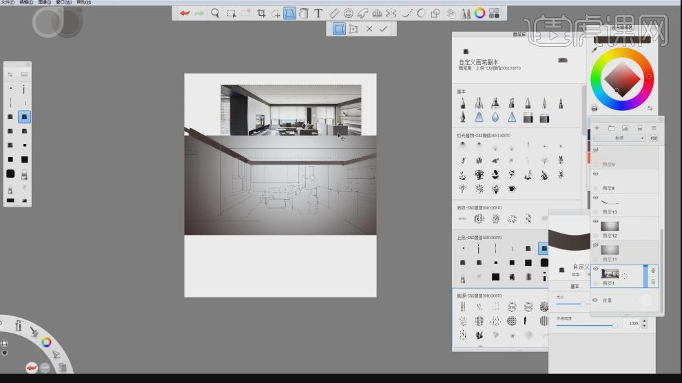skb-室内设计电脑手绘提升班05视频教程_室内设计-虎