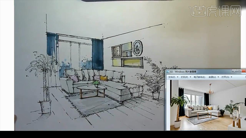 首页 室内设计  马克笔手绘-现代客厅徒手表现-上色篇  7,整个画面的