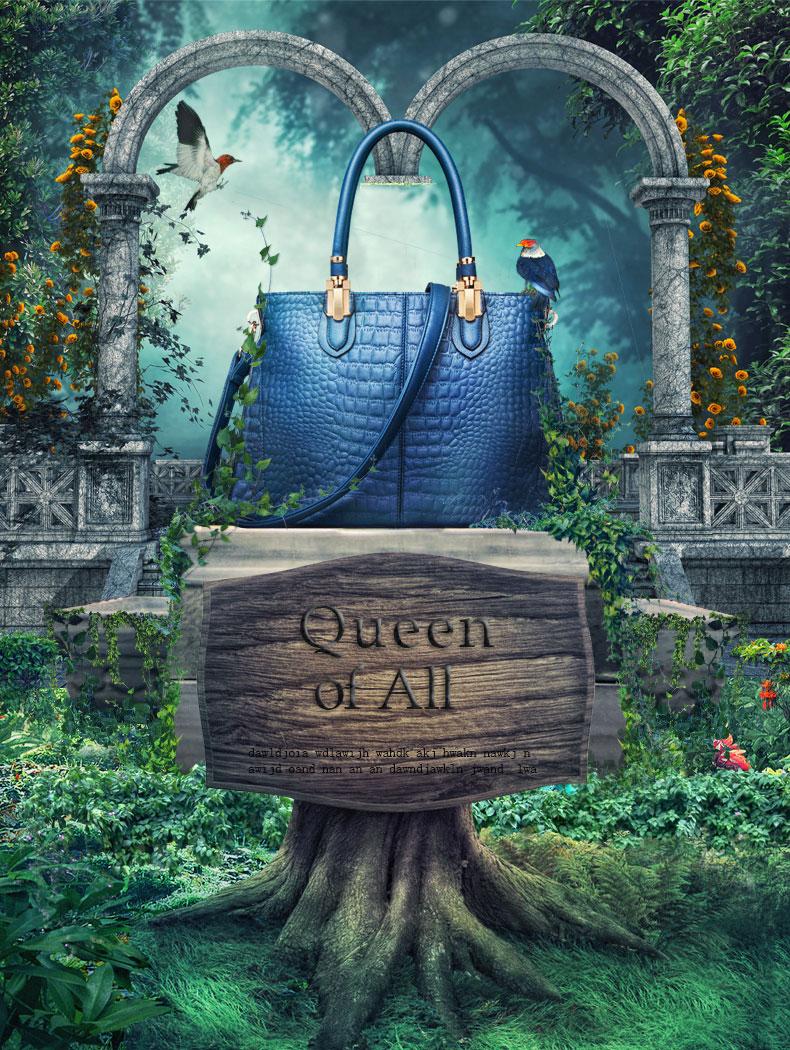 ps-女包广告·梦幻森林 每周一练:森林场景女包合成海报  冰上传于