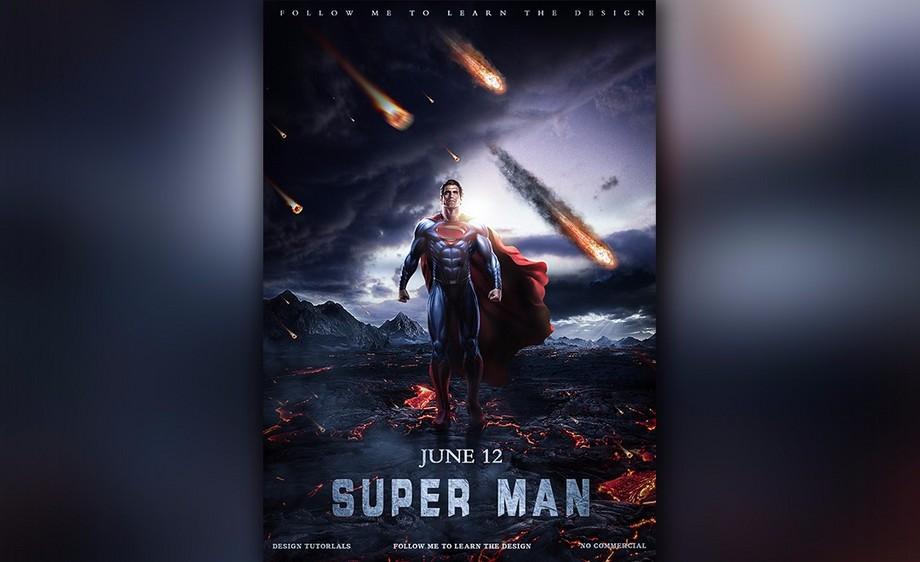 ps-超人电影海报合成教程