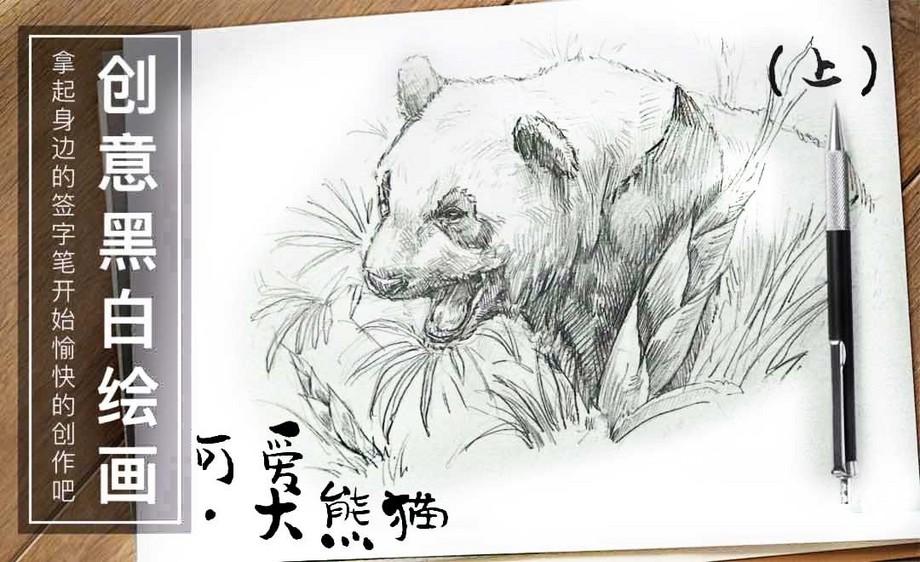 针管笔手绘插画-可爱.大熊猫(上)