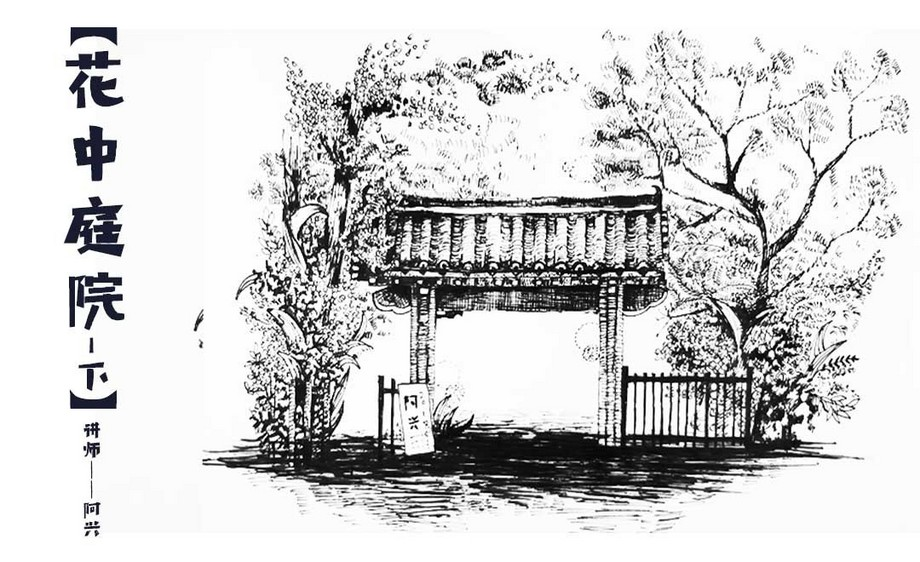 针管笔绘画-花中庭院-下-黑白风景创意插画