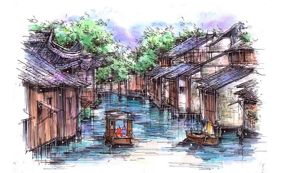 马克笔手绘-江南水乡(上色篇)