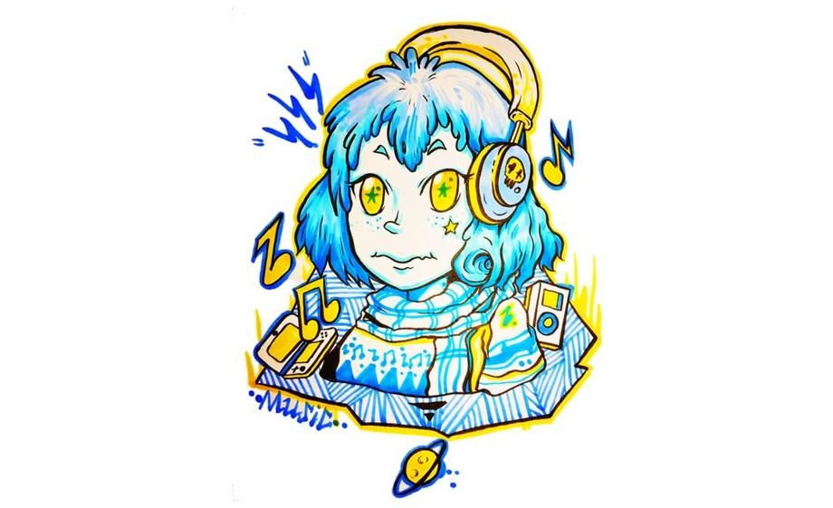 商业插画手绘教程-听音乐的女孩