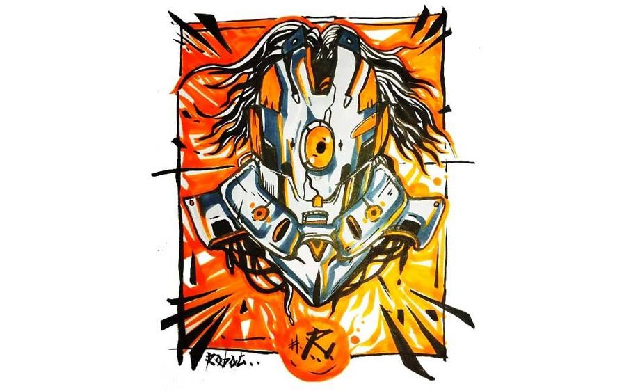 马克笔-机器战士-创意手绘插图