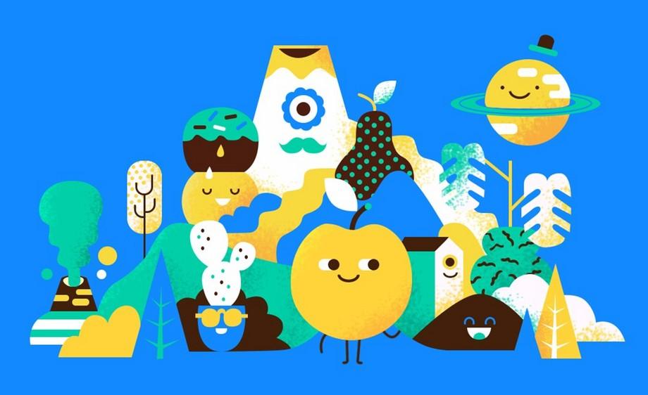 PS-鼠绘插画-水果派对