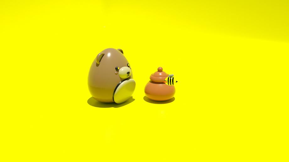 C4D-卡通小熊与蜂蜜建模渲染-OC渲染