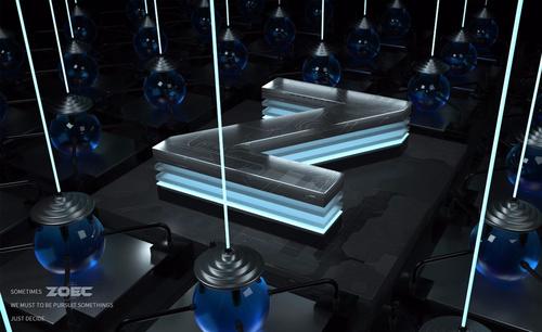 C4D-科幻立体字Z-阵列多通道渲染