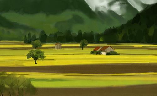 PS-板绘-色彩风景-农田-水彩风