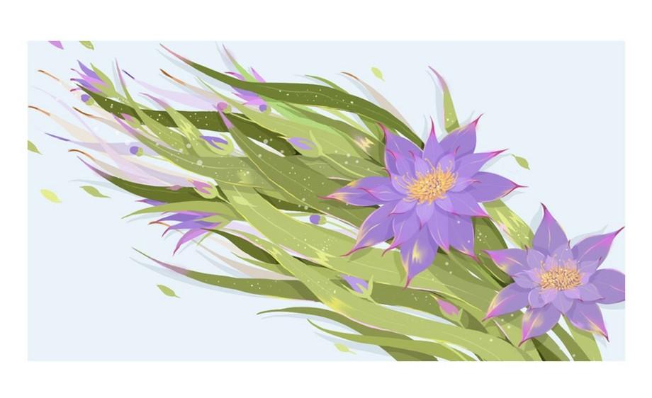PS-板绘-小清新插画-紫色的花花