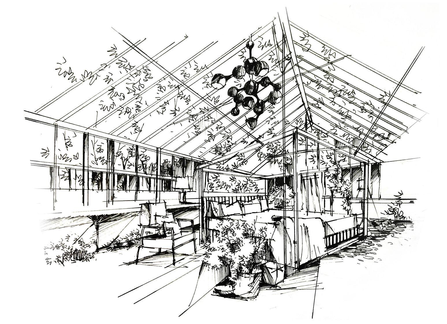 马克笔室内手绘-玻璃屋空间手绘线稿