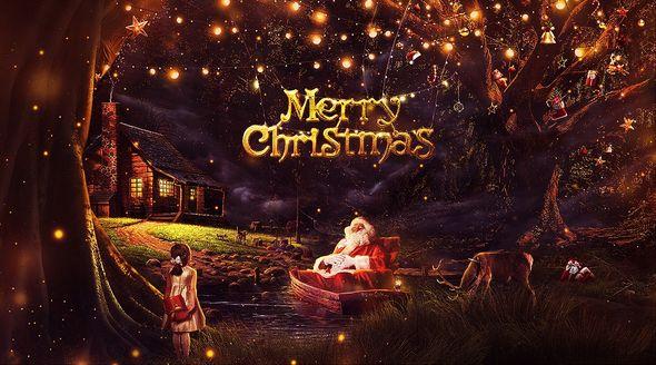PS-圣诞节梦幻黑金创意合成海报