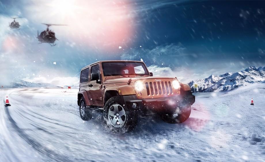 PS-创意广告·Jeep车雪山疾驰
