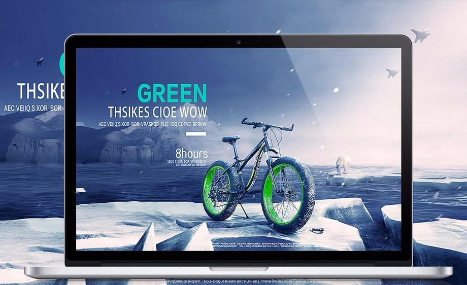 PS-冰川动感单车合成海报