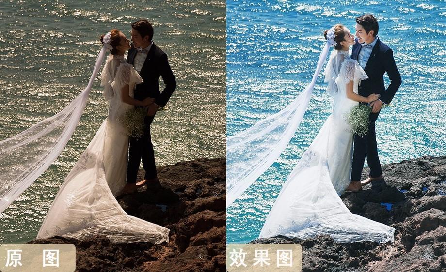 PS-构图与调色的魅力  浪漫海边婚纱照