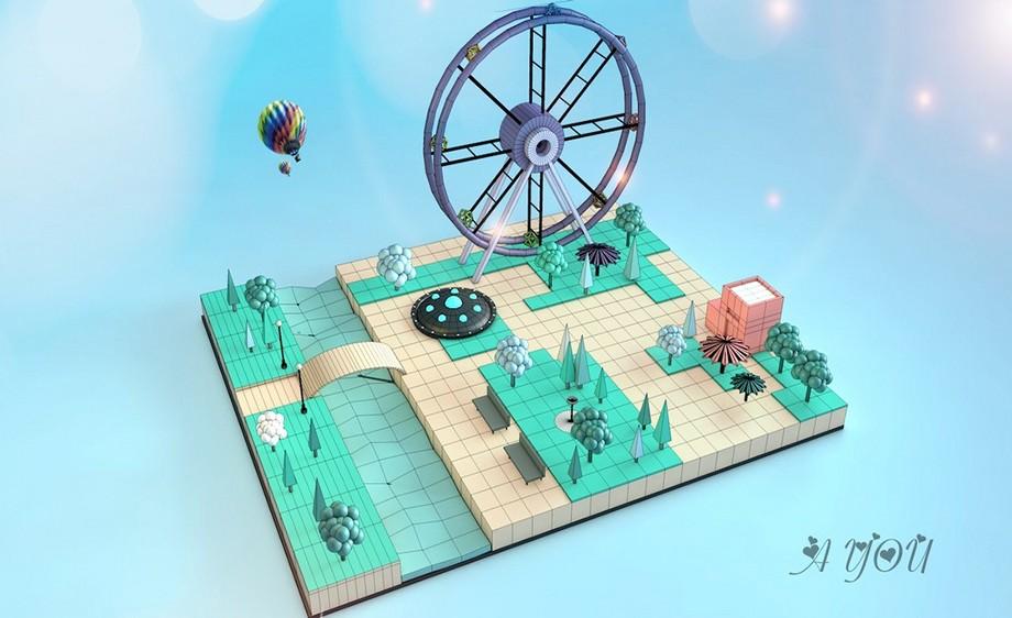 C4D-虚拟公园小景
