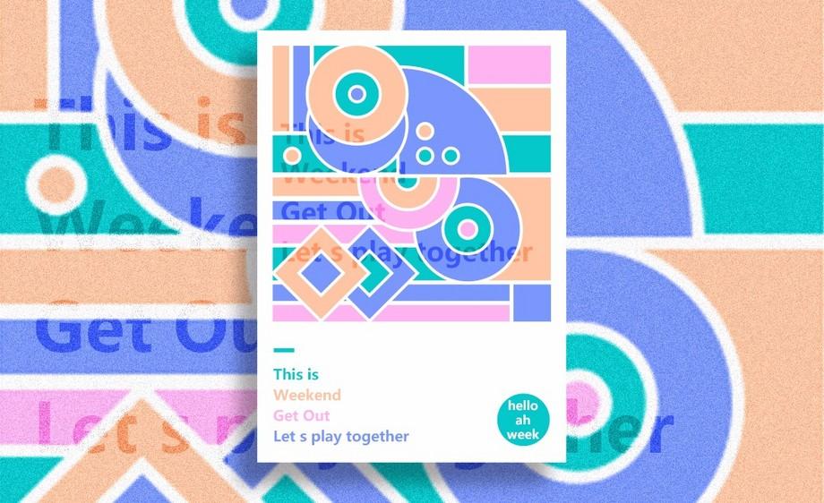 PS-互补色几何图形海报设计
