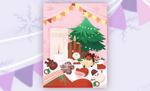 SAI-板绘插画-圣诞装饰与食物