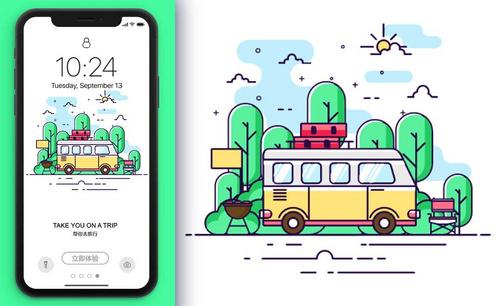 AI-鼠绘-旅游APP闪屏插画