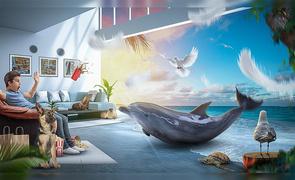 PS-客厅中的海洋世界创意合成