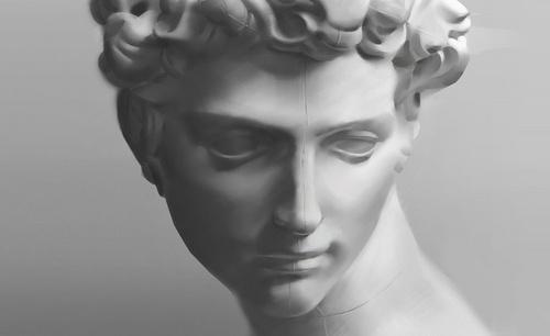 PS-板绘-黑白石膏人头像-大卫