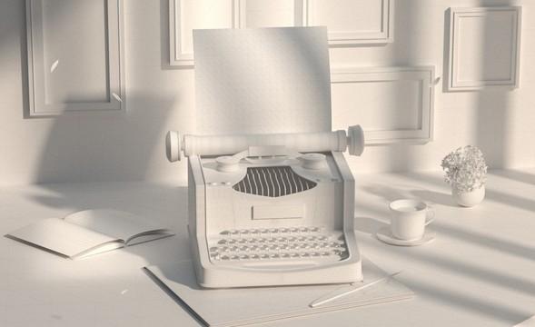 C4D+OC-萌新也能学会的写实打字机建模渲染(一)