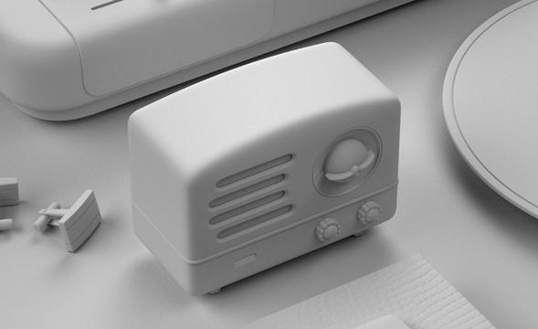 C4D+OC-黑色小音箱建模